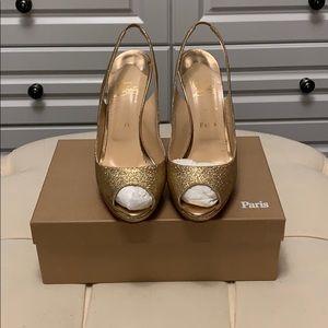 Christian Louboutin Yolanda Sling Gold Glitter 120